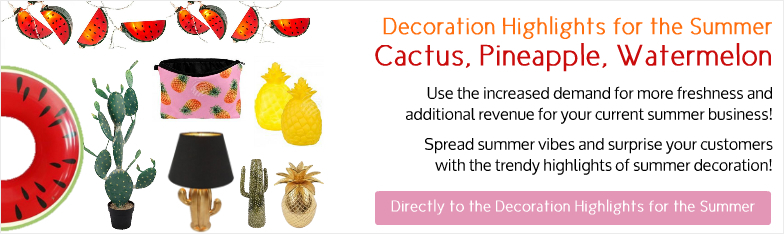 Deko-Hits Sommer Ananas Wassermelone Kaktus Deko Interior wholesale